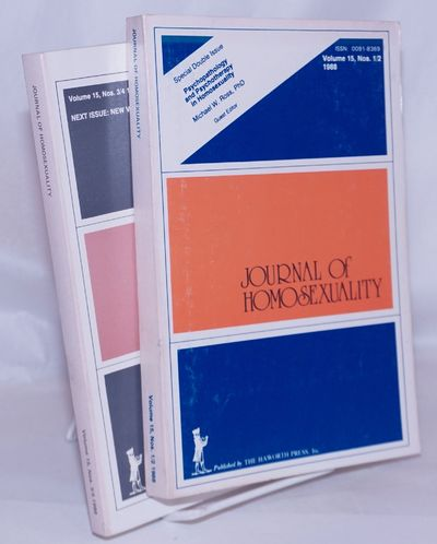 New York: Haworth Press, 1988. Paperback. Two volumes, 222p.. & 186p., articles, reports, footnotes,...