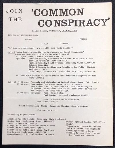 Boston: the Committee, 1968. 8.5x11 inch leaflet, very good. Dr. Benjamin Spock, Rev. William Sloane...