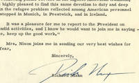 """Vice President Richard M. Nixon Is Proud of the """"Magnificent"""" American Efforts """"to discharge American responsibility in meeting the needs of the Hungarian refugees"""" After the Revolution of 1956 He tells the U.S. Ambassador to Austria, where the refugees were gathered, Lewellyn Thompson: """"Well done, keep up the good work.""""."""