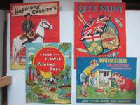 image of Hopalong Cassidy's painting book, with, Let's paint shields, flags and  badges, with, My fruit and flower painting book, with, Wonder paintless  painting book. 4 unused booklets