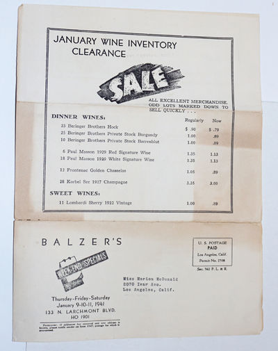 Los Angeles: Balzer's, 1941. Single folio leaf of soft alkaline paperstock, printed double-sided, ma...