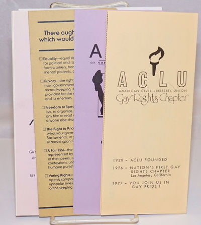 San Francisco: ACLU/GRC, 1990. Four 3.5x8.5 inch brochures of various pagination and on various colo...
