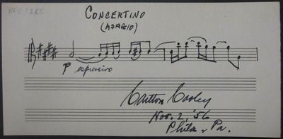 Philadelphia, 1956. unbound. 1 page, 3.75 x 7 inches, Philadelphia, 1956. Two bars of music for Conc...