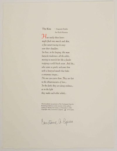 Minneapolis, MN: The Toothpaste Press for Bookslinger Editions, 1982. First edition. Broadside print...