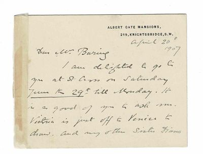 Albert Gate Mansions, 219, Knightsbridge, S.W., London: April 20, 1907. Written on two sides of a sm...