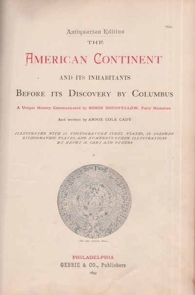 Philadelphia: Gebbie & Co, 1893. Antiquarian Edition. Hardcover. Fair. Tall quarto. x, 479 pages. Cl...