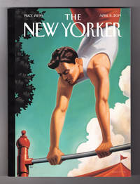 "image of The New Yorker - April 8, 2019. Kenton Nelson Cover, ""The Acrobat"". Mass Shootings; Dinosaur Meteorite Kill Discovery; Home Smog; Psychiatric Drug Addiction; Mueller Investigation; Post-Civil War Reconstruction Failure"
