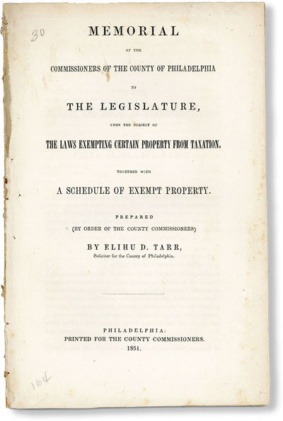 Philadelphia: Printed for the County Commissioners, 1851. First Edition. Paperback. Octavo (22cm.); ...