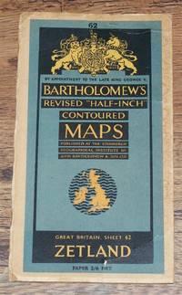 """Zetland - Bartholomew's Revised """"Half-Inch"""" Contoured Maps, Great Britain Sheet 62"""