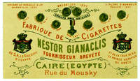 image of Trade card in French for Egyptian cigarette manufacturer Nestor Gianaclis