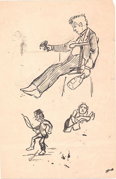 7 x 4.5 inch sketch sheet composed of three pen and ink humorous caricatures on one side and three p...
