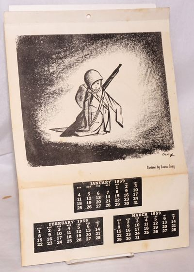 n.p.: , 1958. Four-page calendar, three months to a page, perforated at top so that pages could be r...
