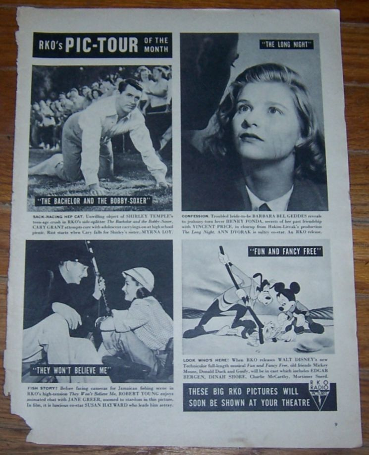 1947 RKO'S PIC-TOUR OF THE MONTH MAGAZINE ADVERTISEMENT, Advertisement