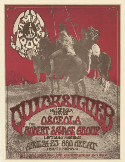 N.p.: N.p., 1970. Vintage flyer for a performance by Quicksilver Messenger Service, with Osceola and...