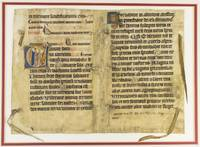 TEXT FROM PSALM 97 by A LARGE VELLUM ILLUMINATED MANUSCRIPT BIFOLIUM FROM A PSALTER IN LATIN, WITH AN HISTORIATED