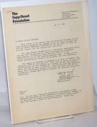 image of The Capp Street Foundation letter