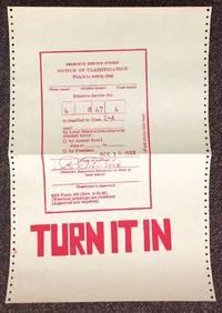 image of Turn it in [screenprint poster depicting draft card]
