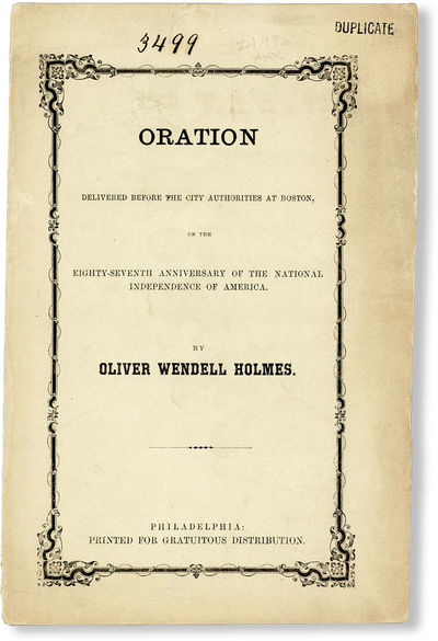 Philadelphia: Printed for Gratuitous Distribution, 1863. Paperback. Octavo (22cm.); publisher's crea...
