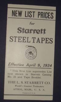 image of L.S. Starrett Co. Athol, Massachusetts Steel Tape Price List April 9. 1934