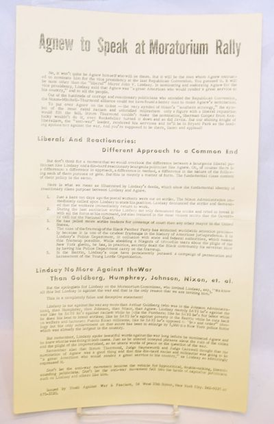New York: Youth Against War and Fascism, . 8.5x14 inch sheet of primrose yellow paperstock, mimeogra...