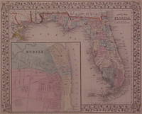 County Map of Florida by  Samuel Augustus Jr MITCHELL - 1867 - from Argosy Book Store and Biblio.com