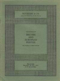 Catalogue of British and European Pewter.  Thursday, 1st May 1975