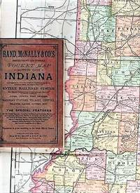 THE RAND-McNALLY VEST POCKET MAP OF INDIANA:  showing all Counties, Cities, Towns, Railways, Lakes, Rivers, etc.; Population is given according to the latest official census