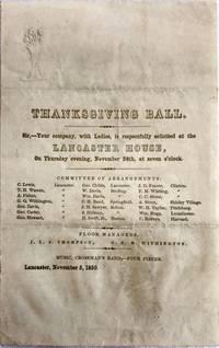 [THANKSGIVING] [MASSACHUSETTS] Lancaster House - Invitation THANKSGIVING BALL