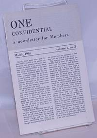 image of One Confidential: a newsletter for members and index of One Magazine volume 11; vol. 10, #3, March, 1965