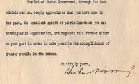 Hoover Seeks Cooperation of Fraternal Organizations For Efforts at Food Conservation & Distribution During World War I.