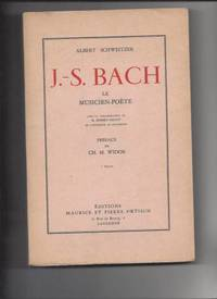 J s bach le musicien poete by Albert Schweitzer - 1958 - from Livre Nomade and Biblio.com