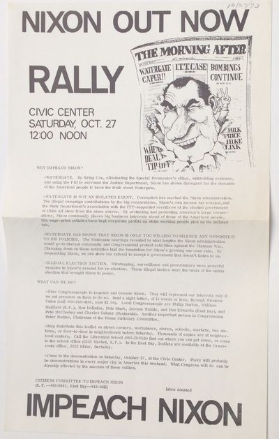 San Francisco: Citizens Committee to Impeach Nixon, 1973. 8.5x14 inch handbill, date penned in corne...