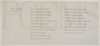 London: Poems on the Underground, nd. Broadside that measures 23.75