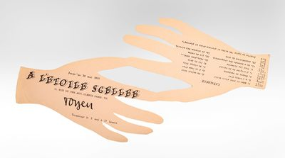 Paper cutout in the shape of two hands. . The scarce and delightful invitation - in the shape of two...