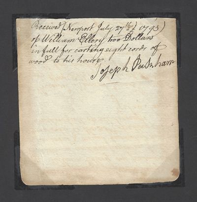 Rhode Island: William Ellery, 1793. UNBOUND. Very Good. Receipt written by William Ellery and contai...