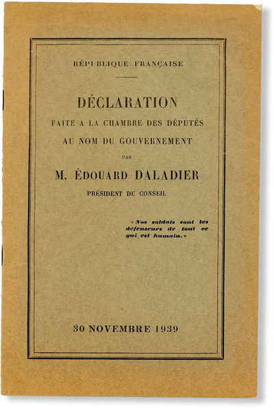 , 1939. First Edition. Paperback. Address delivered by the French Prime Minister on November 30, 193...