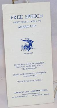 """image of Free speech what does it mean to Americans? Should free speech be permitted those who would deny others """"the Freedom?""""  Should anti-democratic propaganda be suppressed?  Where do we draw the line"""