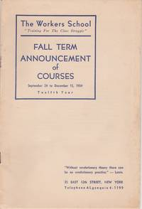 Fall Term Announcement of Courses September 24 to December 15, 1934