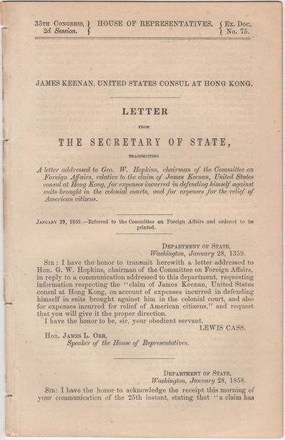Washington, D.C.: U.S. Government Printing Office, 1859. First edition. Removed. Removed from a larg...