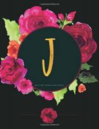 J - Bullet Grid Notebook (Diary, Journal): Black And Pink Floral Monogram Gifts For Women (8.5 x...