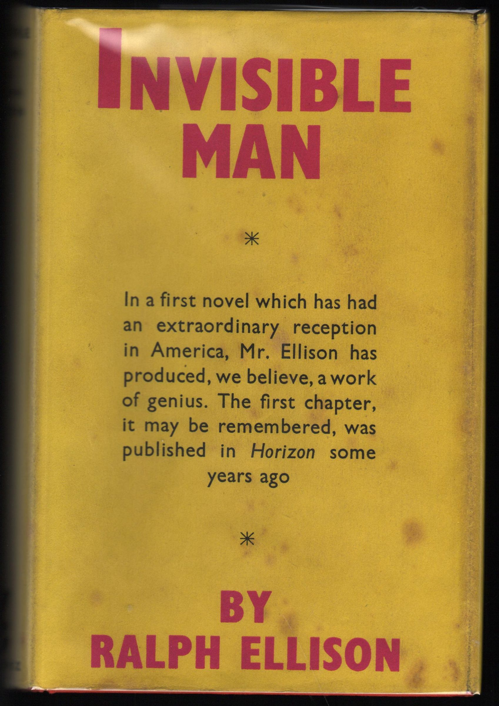 the use of violence in invisible man a novel by ralph ellison Abstract abstract: in 1952, ralph ellison published invisible man to acclaim, though the novel's subterranean ending has inspired critical debate.