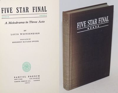 New York: Samuel French, 1931. Hardcover. , 165p., titlepage printed in two colors, paperstock is ni...