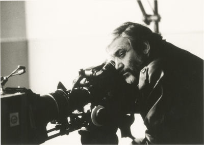 N.p.: N.p., 1985. Vintage borderless reference photograph of Maurice Pialat on the set of the 1985 f...