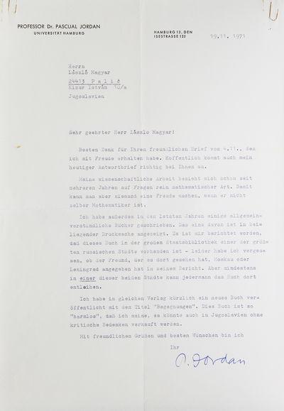 Hamburg, 19/11/71. 1 page, 22 lines. 4to. Old folds. Fine. 1 page, 22 lines. 4to. Solid if anodyne l...