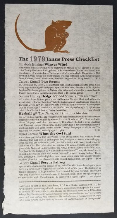 West Burke, VT: The Janus Press, 1981. First Edition. Loose Leaf. Fine. Single sheet listing of the ...