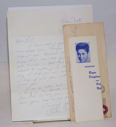 Oaklawn, IL, 1961. Single sheet handwritten letter, one-side only, folded twice to fit inside standa...