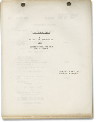 Universal City, CA: Universal Pictures, 1937. Post-production Cutting and Continuity script for the ...