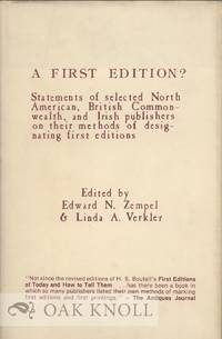 FIRST EDITION?: STATEMENTS OF SELECTED PUBLISHERS.|A