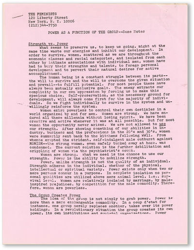 New York: The Feminists, . First Edition. Quarto (28cm.); pink side-stapled self-wrappers printed fr...