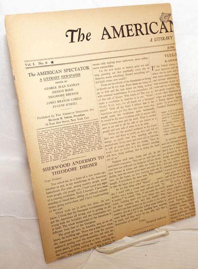 New York: The American Spectator, Inc, 1933. Newspaper. 4p. broadsheet newspaper folded to 8.75x11.2...
